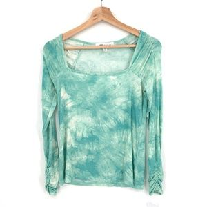 NEW Fever Square-neck Top ribbed ruched puff sleeve shirt Green Tie-Dye XS women